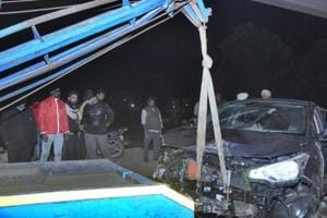 All the four occupants of the car drowned in the canal, police said, adding that the bodies were later fished out.