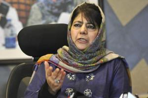 PDP chief Mehbooba Mufti during a press conference at her residence, in Srinagar, Jammu and Kashmir, India on Wednesday, February 11, 2019.