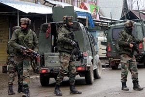 Army soliders  near an encounter site in Kashmir Valley.