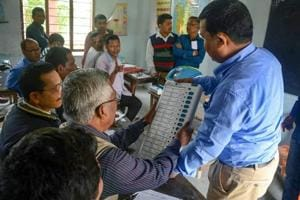 An EVM trainer provides training to election polling and presiding officer ahead of Lok Sabha election 2019, in Baska district of Assam.
