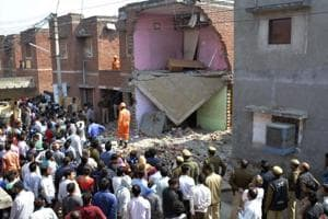 A team of the National Disaster Response Force was deployed after a house collapsed due to LPG cylinder blast at Lal Qater near Vijay Nagar on Saturday morning, in Ghaziabad.