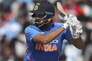 Rohit Sharma bats during the fourth one day international between India and Australia in Mohali.