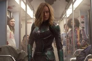 This image released by Disney-Marvel Studios shows Brie Larson in a scene from Captain Marvel.