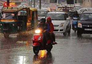 Residents witnessed a sudden change of weather on Monday evening after light rain hit the city due to an active western disturbance over the western Himalayan region, the India Meteorological Department (IMD) said.