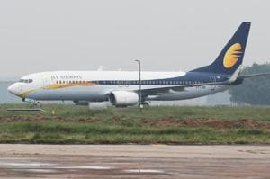 A Jet Airways Boeing 737-800 passenger plane moves on the runway in New Delhi.