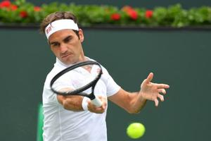 Roger Federer (SUI) during his second round match against Roger Gojowczyk (not pictured) in the BNP Paribas Open