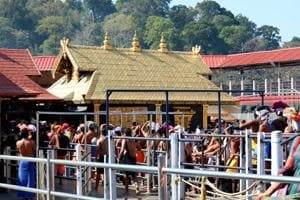A view of pilgrims at the Sabarimala Sannidhanam or the main temple complex  in Kerala.