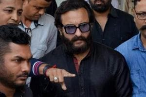 Actor Saif Ali Khan arrives at the airport in Jodhpur on April 4, 2018 ahead of a verdict in the long-running blackbuck poaching case. Saif and three other actors -- Tabu, Neelam and Sonali Bendre - were given the benefit of the doubt and acquitted.