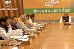 Rajnath Singh chairs BJP manifesto panel meeting