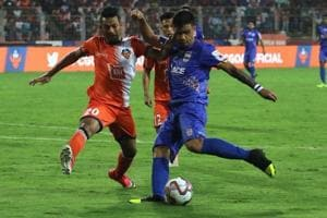 A photo from the ISL semifinal between Mumbai City FC and FC Goa.