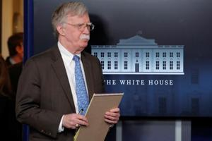 U.S. National Security Adviser John Bolton at a press briefing at the White House in Washington.