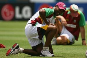 Brian Lara of West Indies looks on during a West Indies team training session at the Kensington Oval on April 20, 2007 in Bridgetown, Barbados.