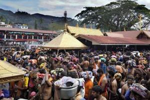 Devotees celebrate Makaravilakku day in Sabarimala  in January.