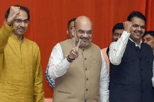 BJP President Amit Shah flanked by Shiv Sena President Uddhav Thackeray and Maharashtra Chief Minister Devendra Fadnavis during the announcement of an alliance between Shiv Sena and BJP for Lok Sabha and Assembly polls, in Mumbai.
