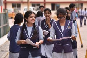 CBSE 2019 Question paper Analysis: Students of Class 12 coming out of HEMA higher secondary school after appearing in CBSE Class 12 exam of Business studies in Bhopal on Thursday.