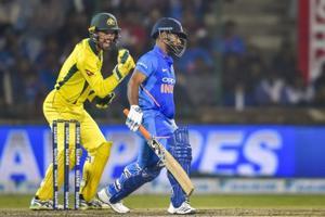 Australia's Alex Carey celebrates the dismissal of Rishabh Pant during the fifth ODI.