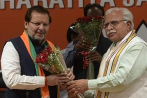 Two-time parliamentarian Arvind Sharma on Friday joined the BJP in the presence of Haryana chief minister Manohar Lal Khattar at the BJP head office in New Delhi