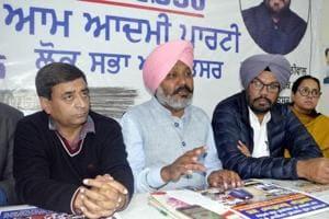 AAP MLAHarpal Singh Cheema addressing a press conference inAmritsar on Friday.