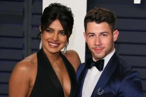 Priyanka Chopra and husband singer Nick Jonas attend the 2019 Vanity Fair Oscar Party following the 91st Academy Awards.