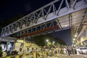A major section of the crowded bridge, known to locals as the Himalaya bridge, came crashing down during evening rush hour on Thursday.