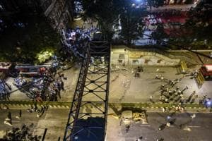 The foot overbridge that collapsed in Mumbai  on Thursday.