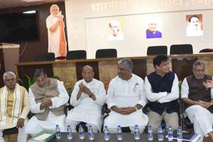 BJP leaders (R to L) union minister Ashwani chaubey, Dy CM Shushil Mody BJP chief Nitiyanand Rai Incharge Bihar BJP Bhupender Yadav and others holding meeting head of Lok Sabha election at party office in Patna Bihar India on Thursday March 14,2019