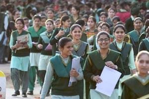 Students coming out after appearing in class 12th PSEB exam at Government Senior Secondary Smart School