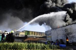 A major fire in Thinner factory, Industrial area,Phase 7 at Mohali on Friday.