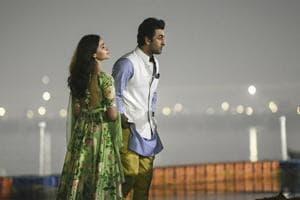 Bollywood actors Ranbir Kapoor and Alia Bhatt during the logo release of their upcoming film Brahmastra at Kumbh Mela, in Prayagraj.