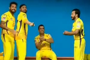 MS Dhoni, Harbhajan Singh, Kedar Jadhav and Murali Vijay dance to the tune of Chennai Super Kings' team anthem
