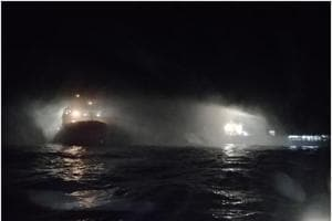 Coast Guard ships douse major fire on research vessel