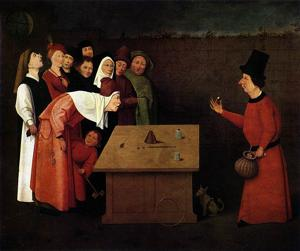 The Conjurer by Hieronymus Bosch, a 15th-century painting that depicts what is most likely an out-of-towner having his pocket deftly picked as he watches another trick featuring sleight of hand.