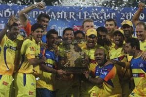 Chennai Super Kings celebrate after winning the IPL2010 trophy.