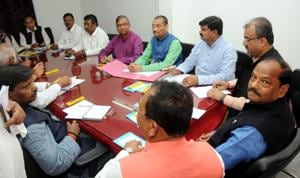 Chief minister Raghubar Das and senior party leaders attends the BJP election committee meeting for the Lok Sabha election at state BJP head quarters in Ranchi