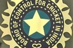 A view of logo of the Board of Control for Cricket in India (BCCI).