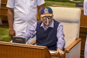Goa chief mMinister Manohar Parrikar during the presentation of the State Budget at Goa Legislative Assembly, in Panaji.