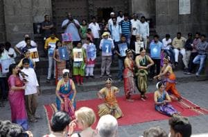 Students perform 'Bharatanatyam' during a unique awareness programme 'Jal Hosh' at Shaniwarwada on Saturday.