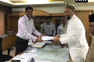 AIMIM president Asaduddin Owaisi files his nomination from Hyderabad parliamentary constituency.
