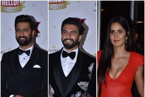 Ranveer Singh, Vicky Kaushal and Katrina Kaif at the Hello Hall of Fame awards.