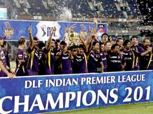 Kolkata Knight Riders with the IPL trophy.