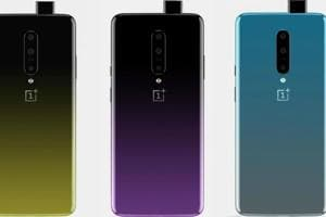 OnePlus 7 seen in three gradient finishes.