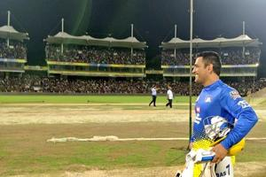 MS Dhoni walks out