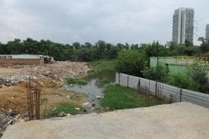 A view of Badshapur drain, in Gurugram