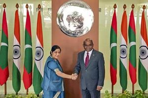 External affairs minister Sushma Swaraj shakes hands with her Maldivian counterpart Abdulla Shahid in Male on March 17.