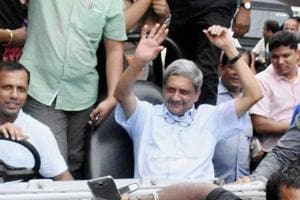 *In this file photo dated Aug 28, 2017, Goa Chief Minister Manohar Parrikar is seen in a victory rally after winning Panaji by-election in Goa. Parrikar, 63, died  at his residence in Panaji, Sunday, March 17, 2019.