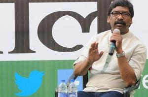 "Hemant Soren, working president of Jharkhand Mukti Morcha (JMM), a party that was founded by his father Shibu Soren, said on Saturday that Opposition parties had ""officially sealed"" an alliance in Jharkhand ahead of the Lok Sabha elections.  (Photo by Diwakar Prasad/ Hindustan Times )"