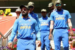 Virat Kohli of India leads his team out during game three of the One Day International series between India and Australia at JSCA International Stadium Complex on March 08, 2019 in Ranchi, India.