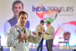 "Congress president Rahul Gandhi speaks during an interactive session with IT Professionals ""India Preneurs"" ahead of Lok Sabha Election 2019 in Bengaluru on March 18."