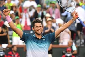 Dominic Thiem (AUT) reacts after defeating Roger Federer (not pictured) in the finals of the BNP Paribas Open at the Indian Wells Tennis Garden