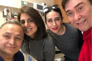 Rishi Kapoor with Neetu Kapoor, Karisma Kapoor and Randhir Kapoor in the US.